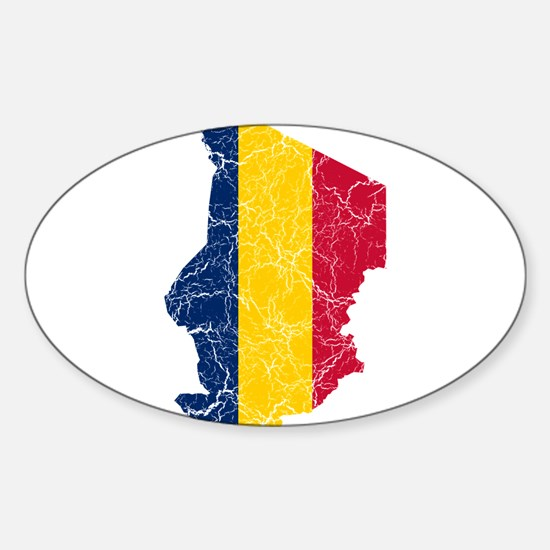 Chad Flag And Map Sticker (Oval)