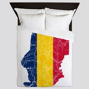 Chad Flag And Map Queen Duvet