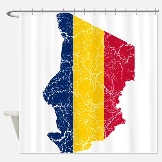 Chad Flag And Map Shower Curtain