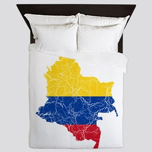 Colombia Flag And Map Queen Duvet