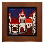 Medieval Village Framed Tile