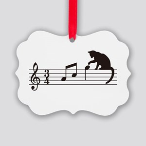 Cat Toying with Note v.1 Picture Ornament