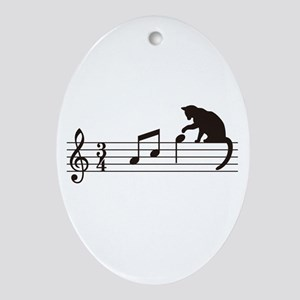 Cat Toying with Note v.1 Ornament (Oval)