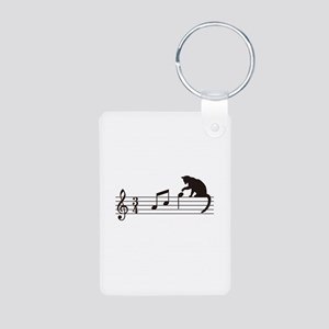 Cat Toying with Note v.1 Aluminum Photo Keychain