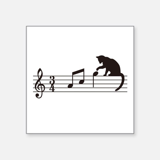 """Cat Toying with Note v.1 Square Sticker 3"""" x 3"""""""