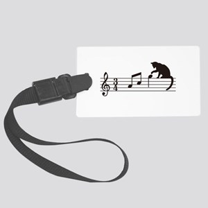 Cat Toying with Note v.1 Large Luggage Tag