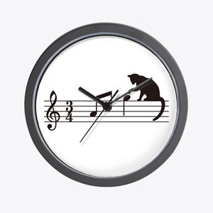 Cat Toying with Note v.1 Wall Clock
