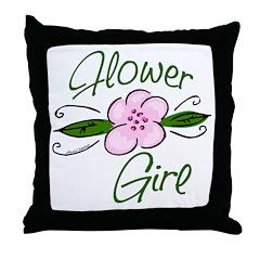 Flower Girl Pink Floral Throw Pillow