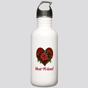Best Friend. Heart and Roses. Stainless Water Bott