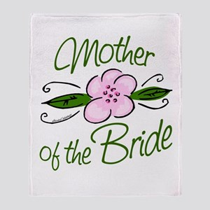 Pink Flower Mother of Bride Throw Blanket