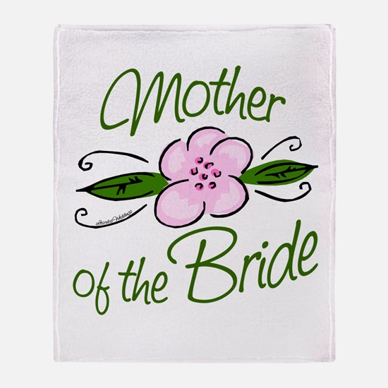 Pink Flower Mother of Bride Throw Blanket