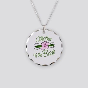 Pink Flower Mother of Bride Necklace Circle Charm