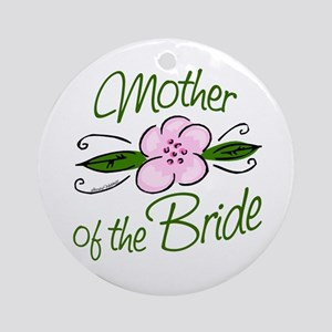 Pink Flower Mother of Bride Ornament (Round)