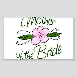 Pink Flower Mother of Bride Sticker (Rectangle)