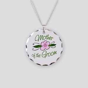 Pink Flower Mother of Groom Necklace Circle Charm