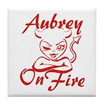 Aubrey On Fire Tile Coaster
