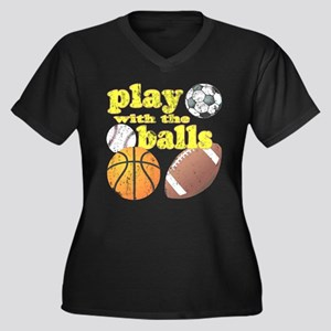 Play With The Balls Women's Plus Size V-Neck Dark