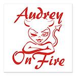 Audrey On Fire Square Car Magnet 3