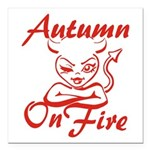 Autumn On Fire Square Car Magnet 3