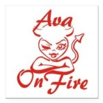 Ava On Fire Square Car Magnet 3