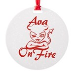 Ava On Fire Round Ornament