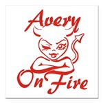 Avery On Fire Square Car Magnet 3