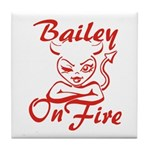 Bailey On Fire Tile Coaster
