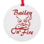 Bailey On Fire Round Ornament
