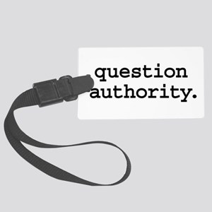 questionauthorityblk Large Luggage Tag