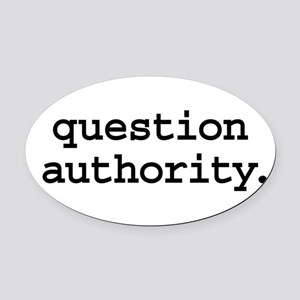 questionauthorityblk Oval Car Magnet