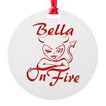 Bella On Fire Round Ornament