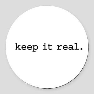 keepitrealblk Round Car Magnet
