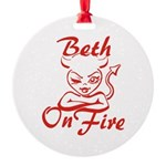 Beth On Fire Round Ornament