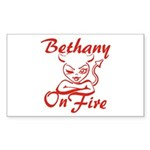 Bethany On Fire Sticker (Rectangle)