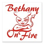 Bethany On Fire Square Car Magnet 3