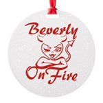 Beverly On Fire Round Ornament