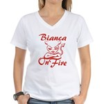 Bianca On Fire Women's V-Neck T-Shirt