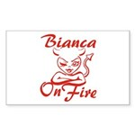 Bianca On Fire Sticker (Rectangle)