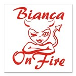 Bianca On Fire Square Car Magnet 3