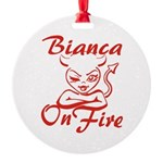 Bianca On Fire Round Ornament