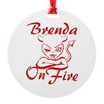 Brenda On Fire Round Ornament