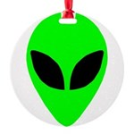 plainalienheadblk Round Ornament