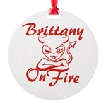 Brittany On Fire Round Ornament