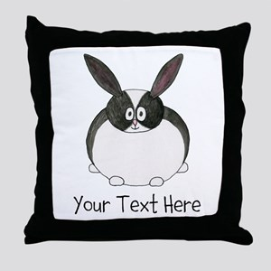 Dutch Rabbit. Custom Text. Throw Pillow