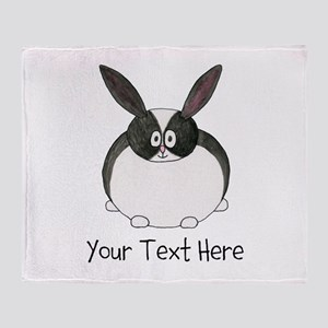 Dutch Rabbit. Custom Text. Throw Blanket