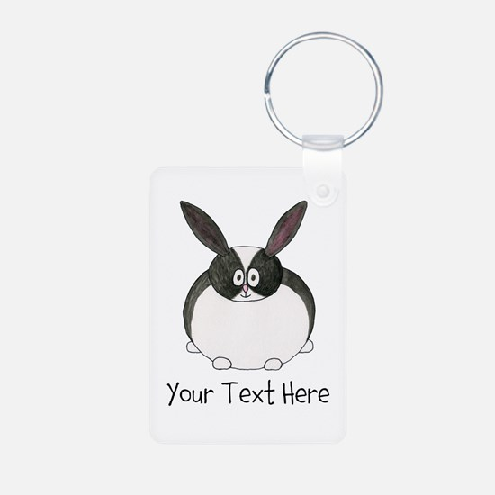 Dutch Rabbit. Custom Text. Keychains