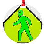 aliencrossingblk Round Ornament