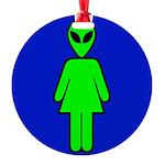 alienladiesroomblk Round Ornament