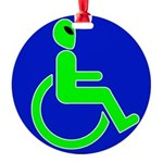 alienhandicappedblk Round Ornament