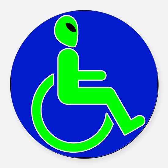 alienhandicappedblk.png Round Car Magnet
